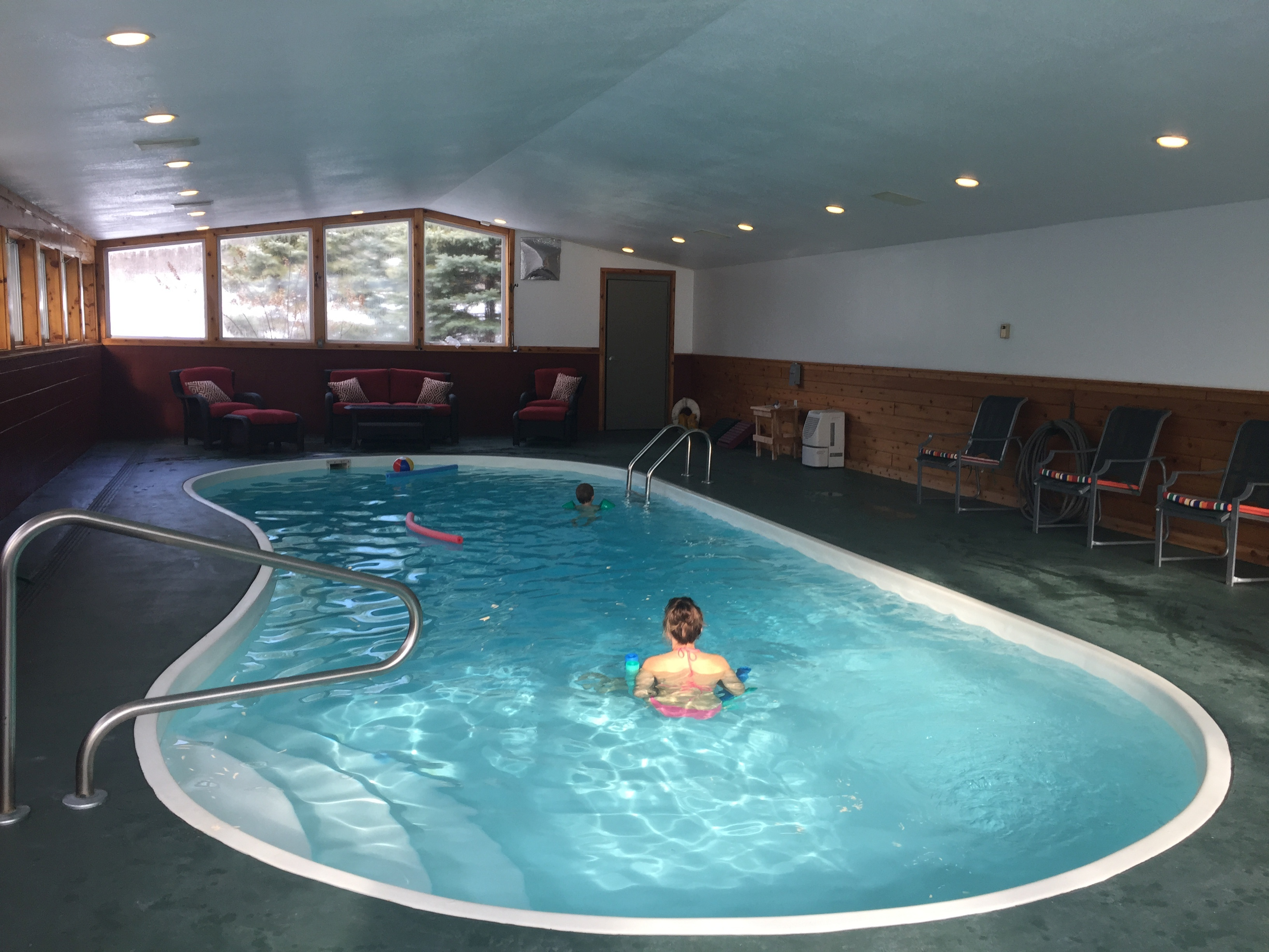 Indoor heated pool at Torch Lake Lodge